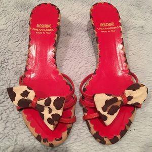 Moschino Cheap and Chic Leopard Kitten Heel Slide